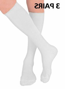 3 Pair White Compression Socks for Men and Women – 15-20 m