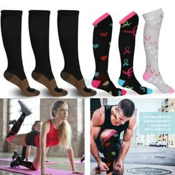 3 Pairs Copper Compression Socks 15-20mmHg Graduated Support