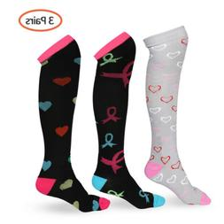 3 Pairs Copper Energy Knee High Compression Socks 20-30mmHg