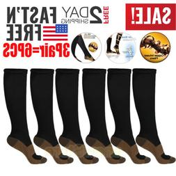 3Pairs Copper Energy Compression Socks Easy On & Off, Men 9-