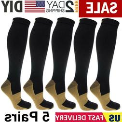 5 Pairs Copper Energy Knee High Compression Socks Recovery S