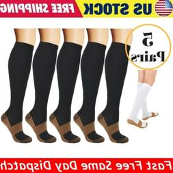 5 Pairs Copper Fit Energy Knee High Compression Socks, SM L/