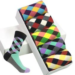 5 Pairs Cotton Men Socks Compression Novelty Funny Colorful