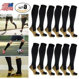 6 Pairs Copper Compression Socks 20-30mmHg Graduated Support