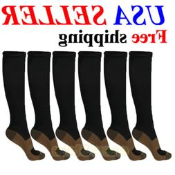 6 Pairs Copper Compression Socks Running 20-30 mmHG Foot Pai