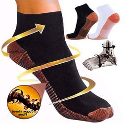 COPPER Compression Socks Arch Ankle Running Support Plantar