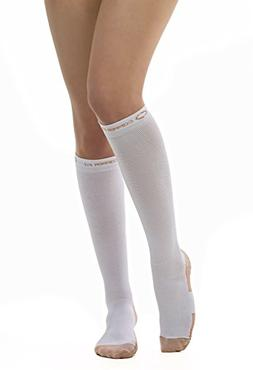 Copper Fit Energy Compression Knee High Socks, White Large/X
