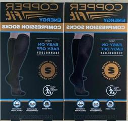 Genuine 2 Pair Copper Fit Easy On Easy Off Compression Socks