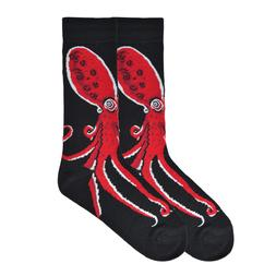 K.Bell Men's Pair Socks Red Octopus Designs Arch Compression