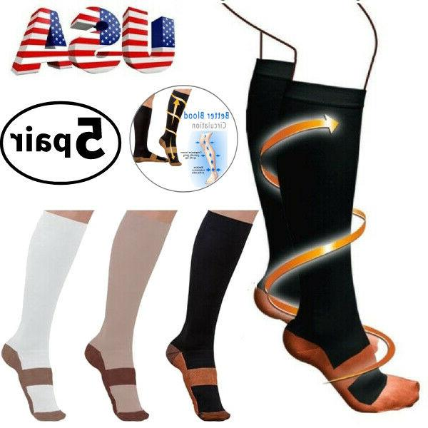 5 pairs copper infused compression socks 20