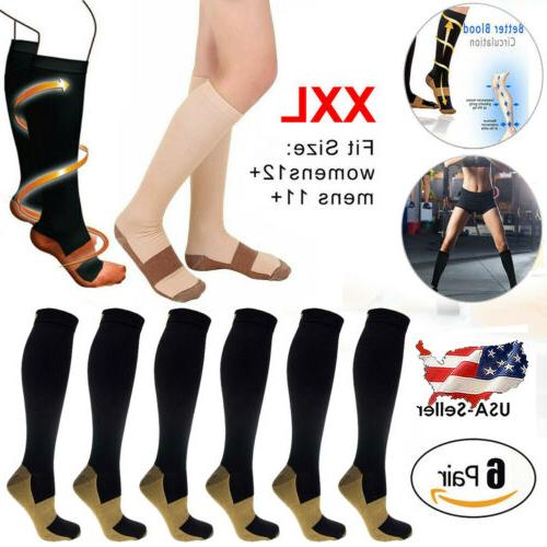 6 pairs copper fit energy knee high