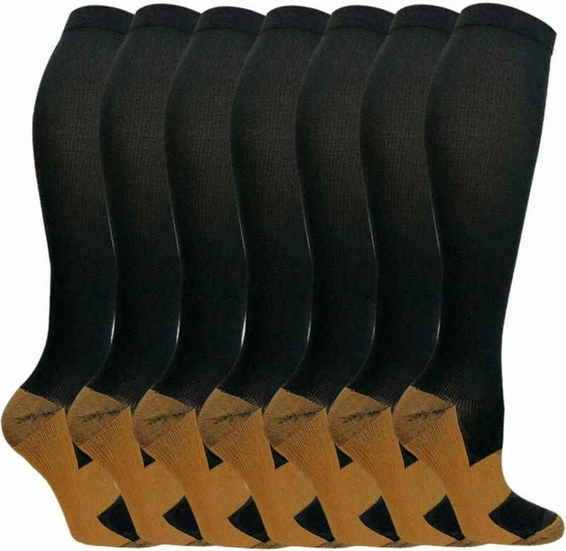 7 pairs copper compression socks for men